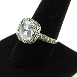 Jewelry - Vintage Size 9.25 Sterling Marcasite & Glass Ring